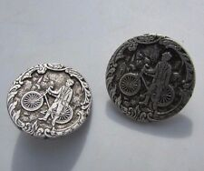 Buttons Boy Bicycling Transportation Bike City Silver Plate Picture Large