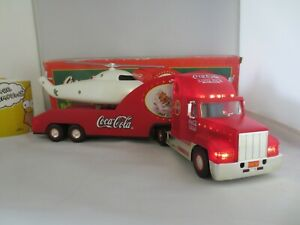 Large Light up Coca Cola Christmas 2000 Holiday Helicopter carrier truck lorry