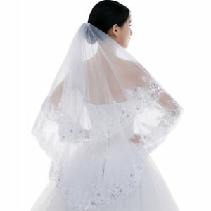 New 2 T White ivory Fingertip Sequin Beaded Bridal Vail Wedding Veil With Comb