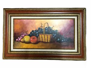 Vintage Basket of Fruit - Original Oil on Canvas