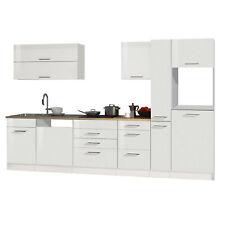 Küchenzeile 330 cm Einbauküche ohne Elektrogeräte Küchenblock hochglanz weiß