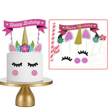 UK Unicorn Glitter Cake Topper Happy Birthday Candle Party Supplies Decor DIY