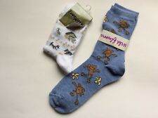 2 PAIRS LADIES NOVELTY SOCKS * DOGS IN DOG HOUSE AND MONKIES * BLUE/WHITE