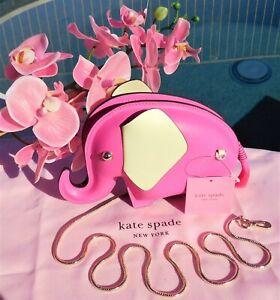 🌸 Kate Spade New York Tiny Elephant Crossbody Leather Bag Pink Multi NEW $328