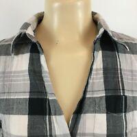 Vanity Button Up Plaid Flannel Shirt Roll Tab Sleeve Black White Womens Tops L