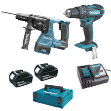 Makita Kit de Lithium 18V Perforateur + Perceuse 2 Batt. 3.0Ah Garantie