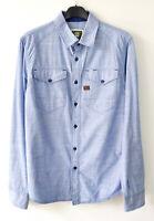 G-STAR RAW 'Arizona Shirt' Men's Medium Casual Blue Cotton Long Sleeved M Top