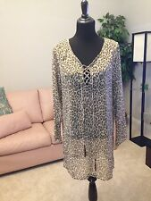 Tommy Bahama Animal Print Tunic Blouse, Size M
