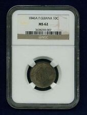 FRANCE / FRENCH GUIANA 1846-A 10 CENTIMES COIN, UNCIRCULATED CERTIFIED NGC MS-62