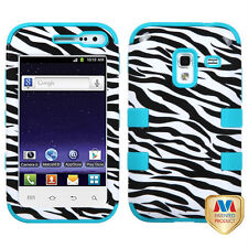 For Samsung Galaxy Admire 4G Rubber IMPACT TUFF HYBRID Case Cover Zebra Teal