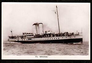 1930 P.S DEVONIA PADDLE STEAMER REAL PHOTO POSTCARD STEAM SHIP HOPKINS SOUTHSEA