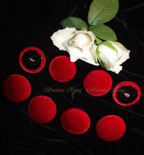 set 8 pcs. Velvet Fabric Covered Buttons Deep Red. Metal loop shank size 30mm.