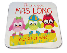 Personalised Printed Coaster christmas school gift! thank you year ruled teacher