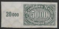 German Reich stamps 1922 MI 256U MarginStamp  MLH  VF