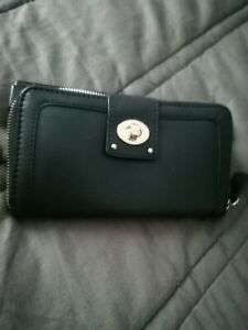 Clarks Leather Purse Money Notes Credit Card Coin Pocket - black