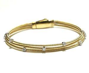 Marco Bicego 18k yellow gold .25ct diamond 3 strand designer bracelet 10.2g 6.5