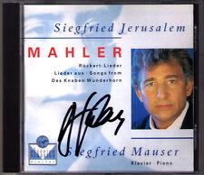 Siegfried Jérusalem signed MAHLER du garçonnets Wunderhorn Rückert chansons Mauser CD