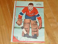 -W GERRY McNEIL GOALER MONTREAL CANADIENS 1951 52 POSTER VTG JOURNAL LA PATRIE