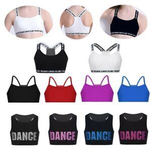 Girls Dance Gym Crop Tops Kids Sports Ballet Bra Tops Strechy Camisole Dancewear