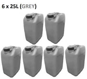 6 x 25 LITRE 25L PLASTIC BOTTLE JERRY CAN WATER CONTAINER CANISTER - GREY