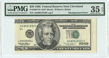 1996 $20 Federal Reserve Note FRN Cleveland, OH PMG Ch VF-35 EPQ Misalignment
