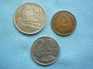 LATVIA lot 3 diff.coins 2 santimi 20, 50 santimu 1925 1939 XF to about UNC
