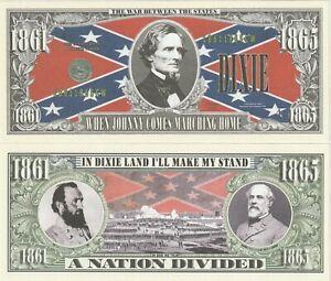 Dixie Land Historical Civil War Dixie Dollar Fun Money Novelty Note +FREE SLEEVE