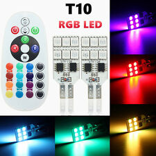 2x Multi Color T10 6SMD RGB LED Car Dome Reading Light Lamp Bulb+Remote Control