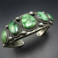 Heavy Vintage NAVAJO Old Ingot Silver GREEN CARICO LAKE TURQUOISE Cuff BRACELET