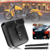 Black Durable PU Leather Motorcycle Dirt Bike Side Luggage Saddlebag Tool Bag