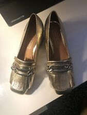 New Gold Loafer Tassel Shoes Size 3