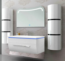 Badmöbel Set montiert Weiß Hochglanz Lackiert Badezimmermöbel 90cm 5tlg LED Weiß