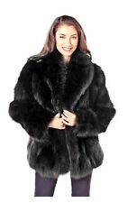 "Real Fox Fur Coat Jacket for Women Plus Size Sculptured Fox 25"" Black"