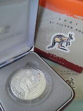 2001 Australia 1oz 0.999 Silver $1 Kangaroo Proof, in box with certificate