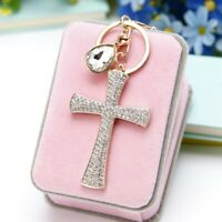 Fashion Cross Pendant Keyring Keychain Key Fob Bag Purse Rhinestone Crystal