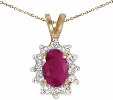 10k Yellow Gold Oval Ruby And Diamond Pendant (Chain NOT included)