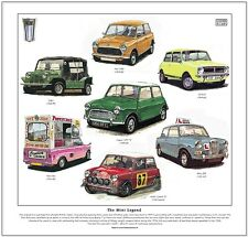 La légende Mini-FINE ART PRINT - 1000 1071s 1275gt MOKE Riley Elf fonctionne Cooper