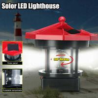 Solar Powered Lighthouse LED Garden Yard Ornament Rotating Outdoor Light 2 Sizes