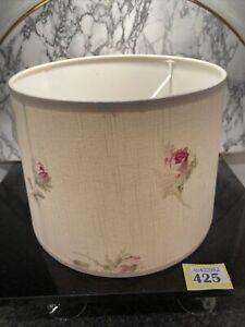 "10"" Dia Cream & Pink Rose Pattern Modern Drum Pendant Ceiling Lamp Light Shade"