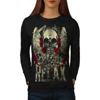 Wellcoda Relax Metal Rock Skull Womens Long Sleeve T-shirt, Rose Casual Design