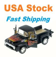 "1956 Ford F-100 PickUp Truck, with Flame, Diecast Model Toy Car, 5"", 1/38 scale"