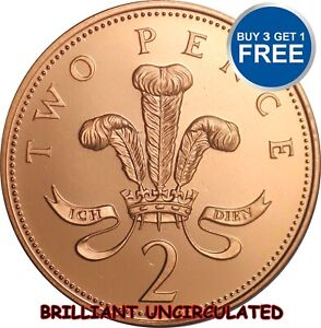 BRILLIANT UNCIRCULATED 2P TWO PENCE COINS 1982 TO 2016 CHOICE OF DATE