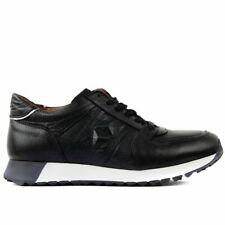 Men Casual Sneaker Genuine Leather Black Brown Green Lace-Up Walking Sports Shoe