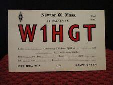 1958. RADIO STATION W1HGT. NEWTON, MASSACHUSETTS. ANTIQUE POSTCARD.