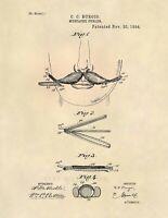 Barber Mustache Curler Vintage US Patent Art Print - Vintage Antique Barber 621