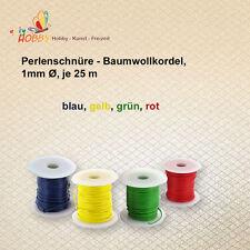 Perlenschnüre - Baumwollkordel,  1mm Ø, je 25 m im Set blau  gelb   grün  rot