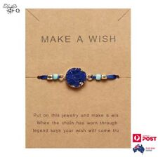 Bracelet Make A Wish Natural Blue Titanium Quartz Adjustable Bangle Jewelry