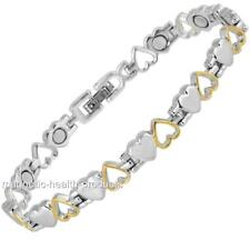 Ladies Magnetic Healing Bracelet Silver Gold Hearts Bangle Arthritis Pain Relief