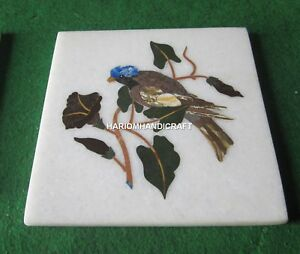 White Marble Coffee Table Top Unique Birds Multi Inlaid Work Hallway Decor H4681