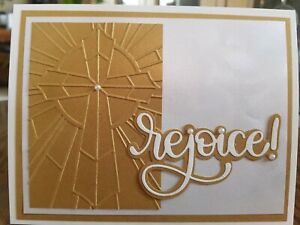 Easter card kit using Stampin Up/Papertrey, gold, cream shimmer,  rejoice
